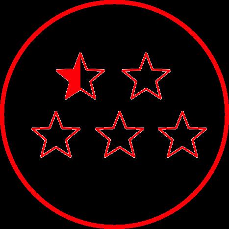 cinco estrelas vermelho